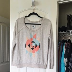 Volcom L cream sweater with abstract design